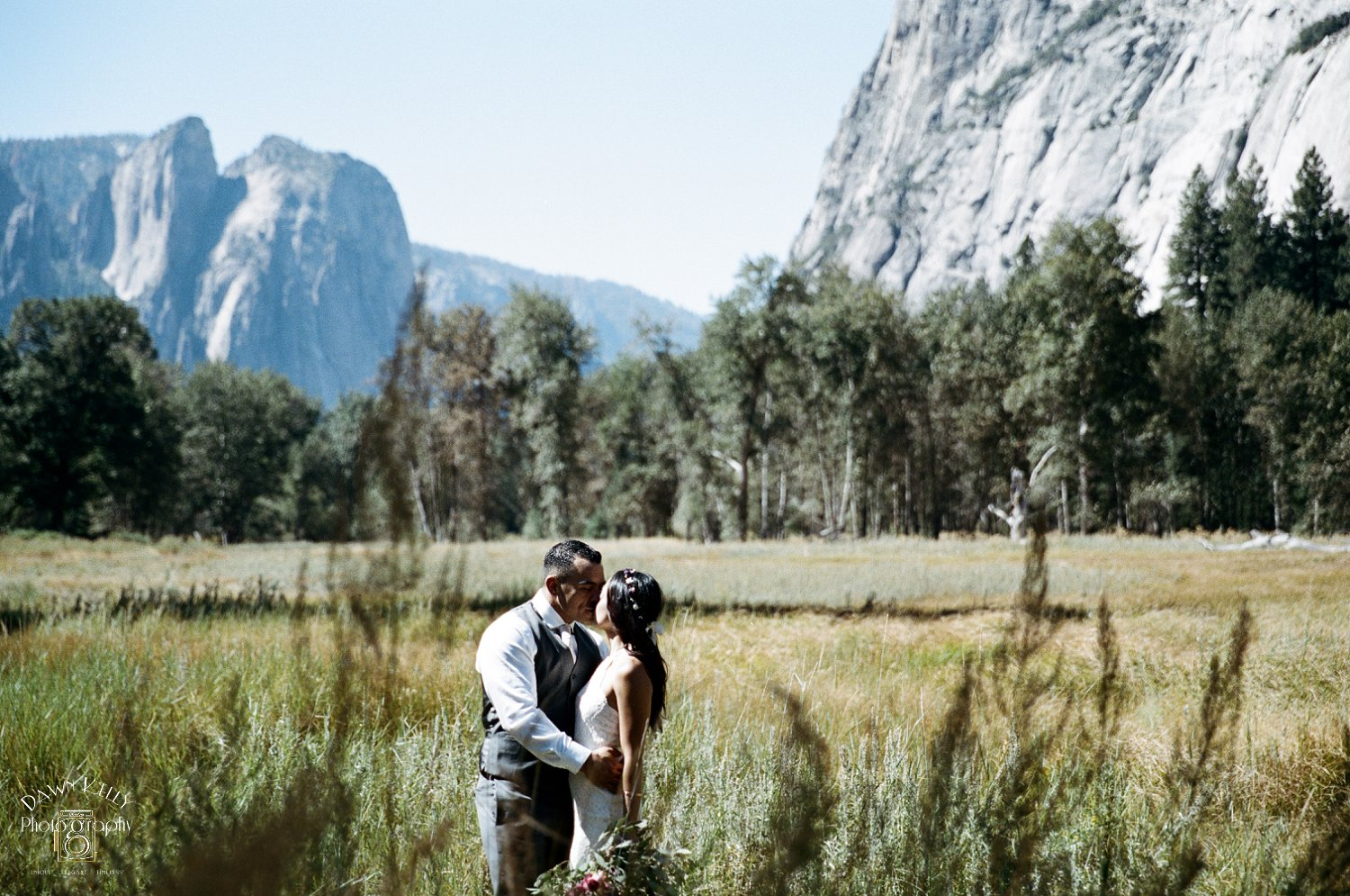 There are unlimited gorgeous views for wedding photos in Yosemite. Everywhere you look, it's majestic.