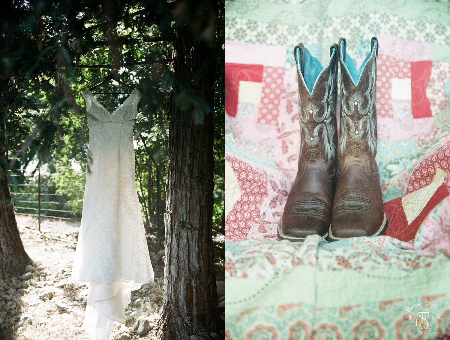 "Lauren is a country girl, so it was fitting that she wore these ""something blue"" cowgirl boots. I LOVED it!"