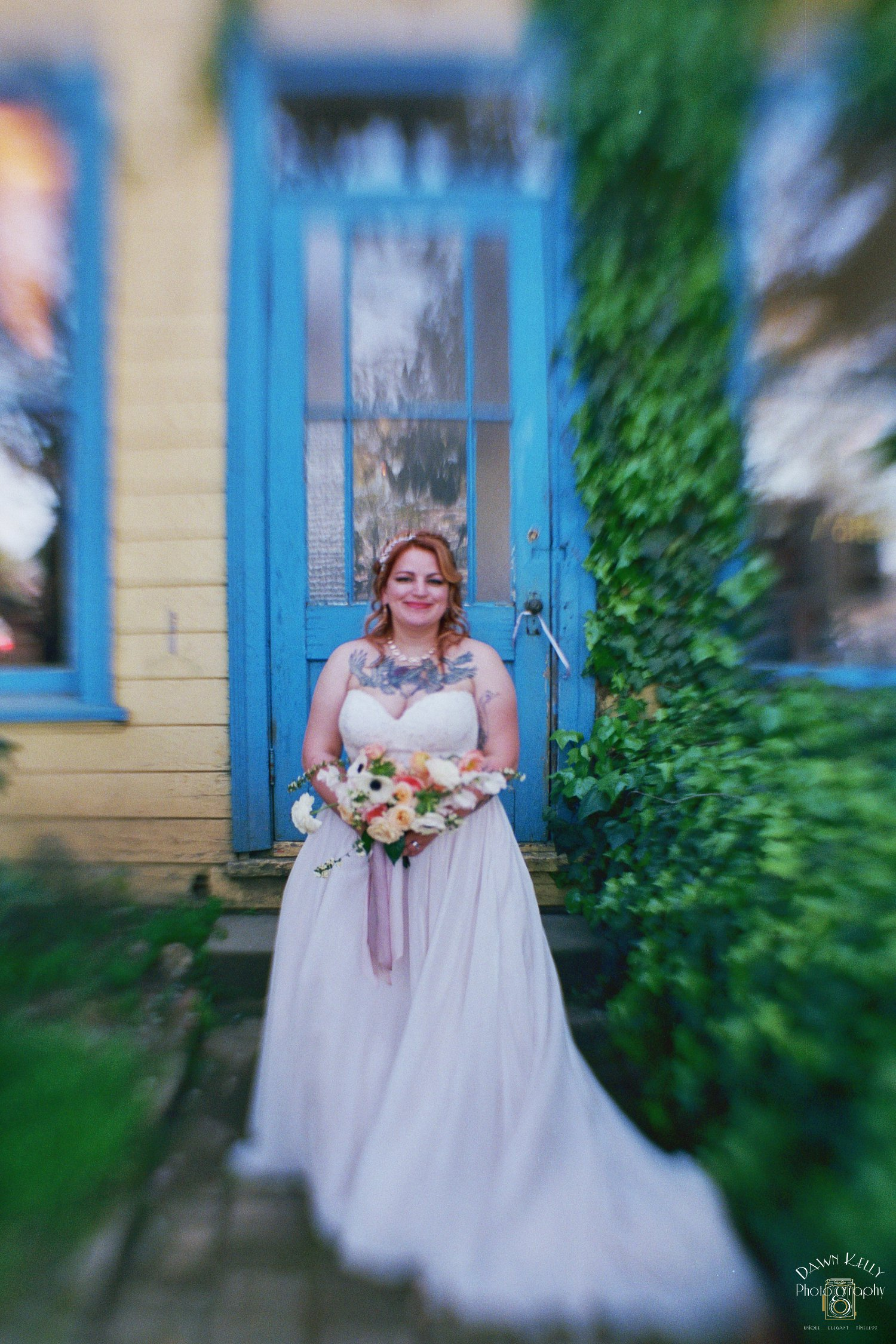 Tilt shift photo of bride