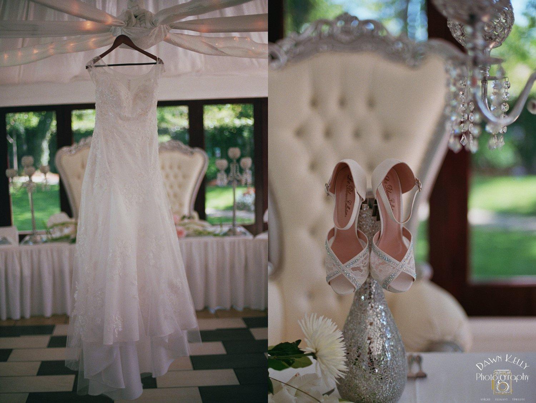 Vintage Gardens wedding dress hanging