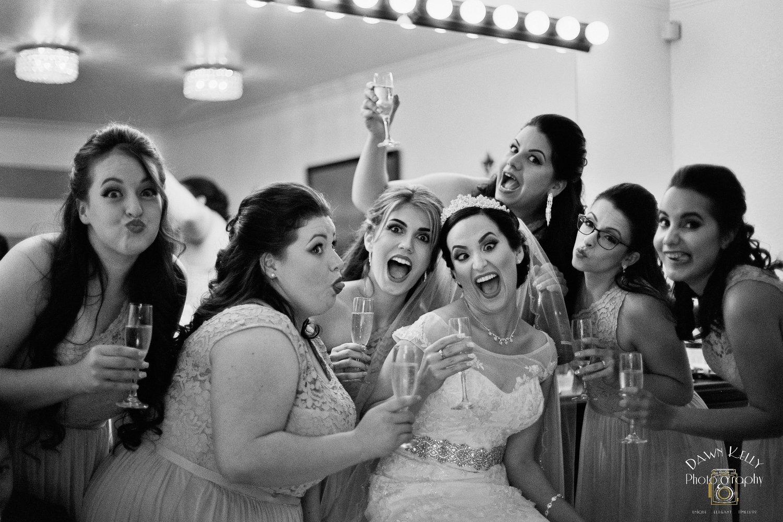 Bridesmaids making goofy faces
