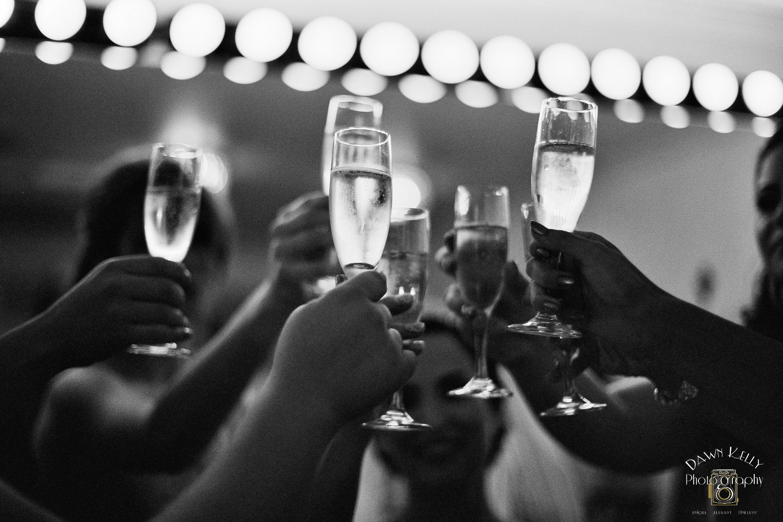 Champagne glasses toast Vintage Gardens