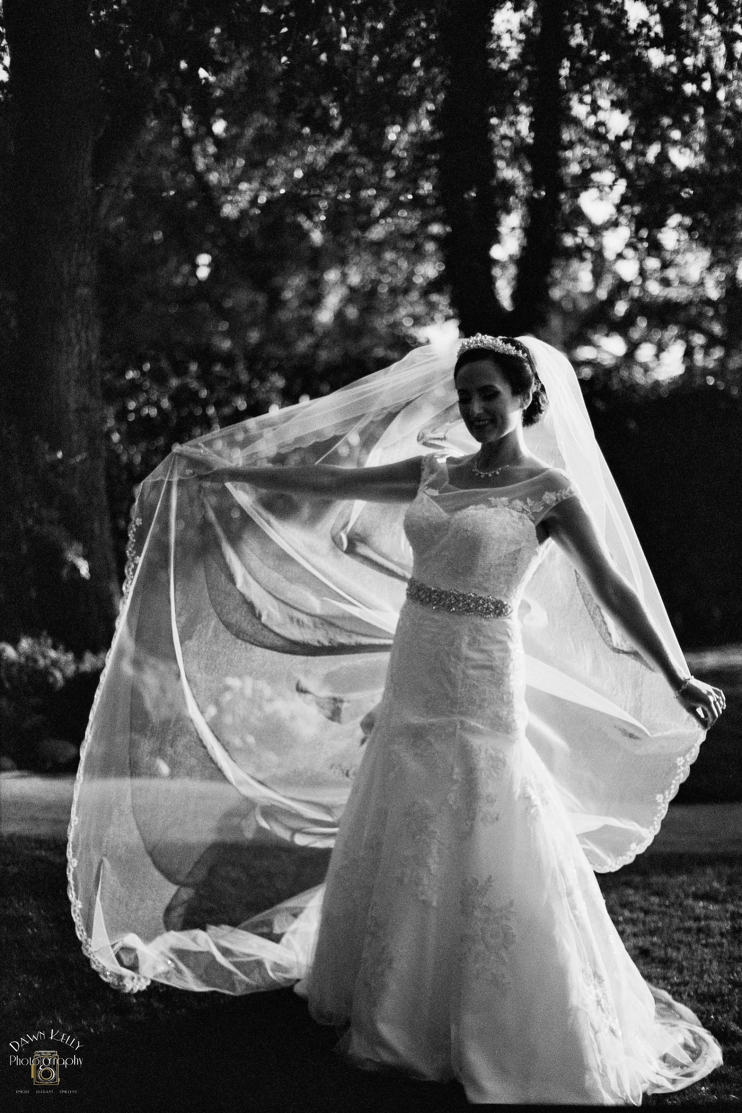 Black and white bride with long veil