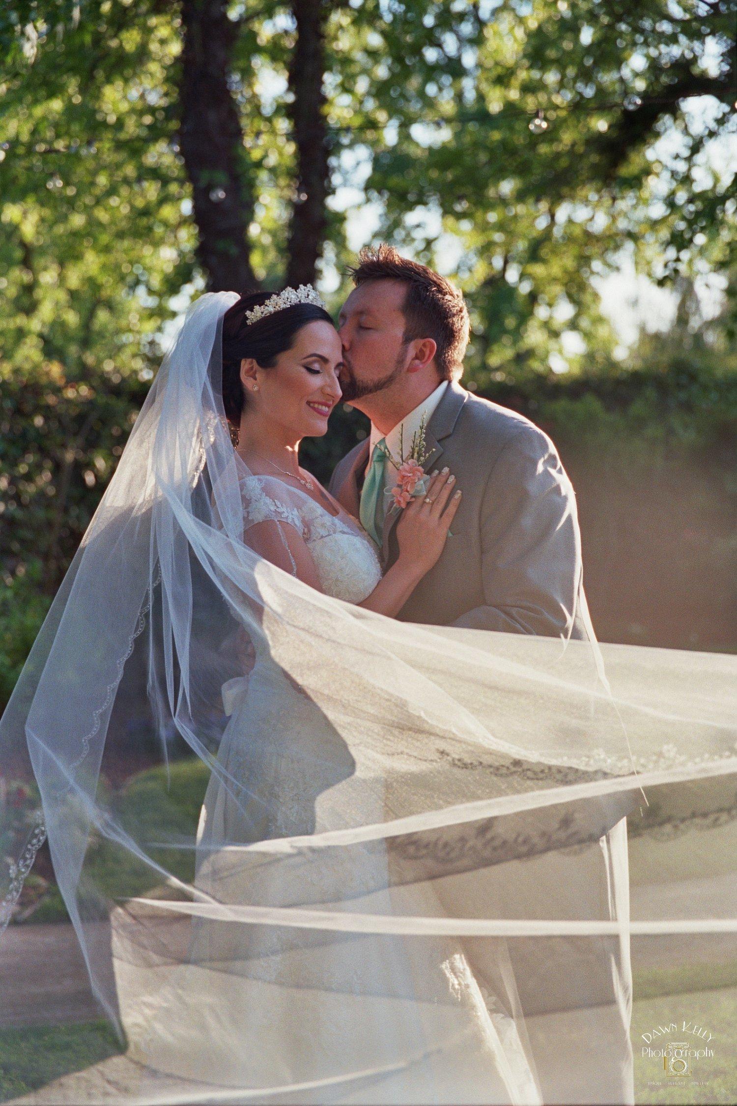 Bride groom veil pic Vintage Gardens