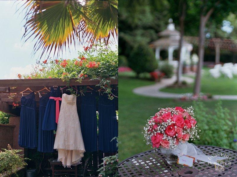 David's Bridal strapless dress bridal bouquet