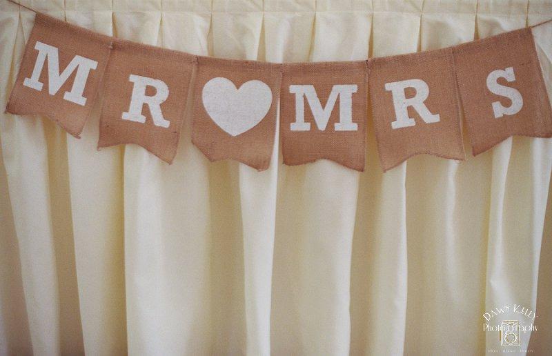Mr and Mrs burlap wedding banner