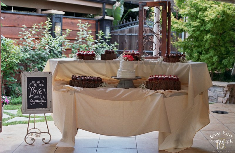 Wedding cupcake buffet chocolate cupcakes on rustic wooden slices