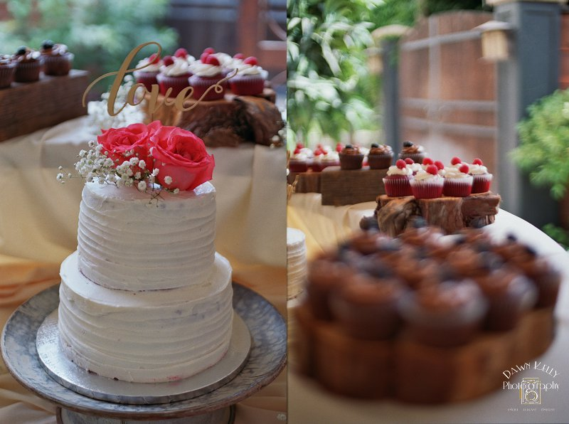 Rustic wedding cake with chocolate cupcakes on wooden slices