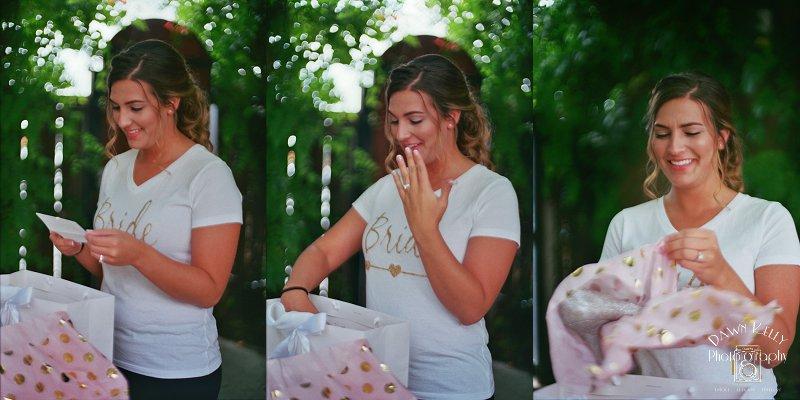 Bride opening her wedding gift from groom