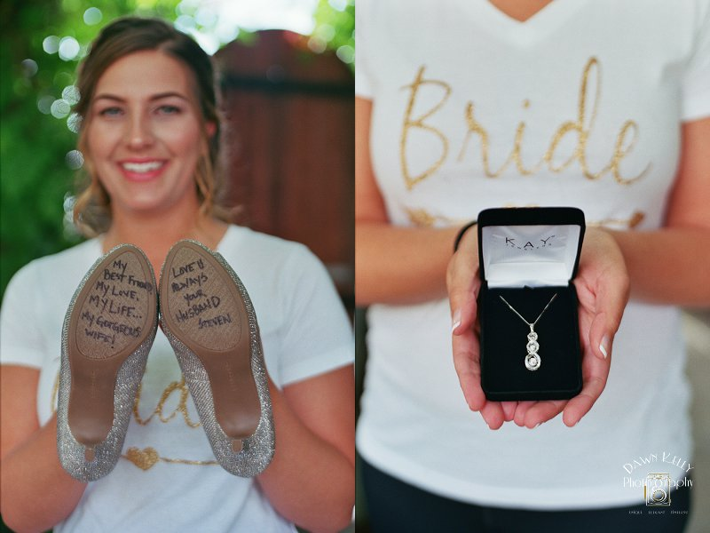 Bridal shoes with written message from groom