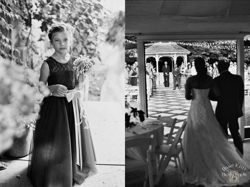 Black and white photo bride walking down aisle